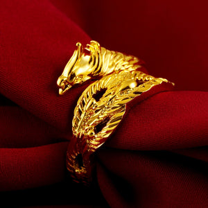 Gold Dragon Phoenix Wealth & Protection Ring