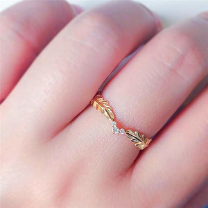 Leaf Feather Peace Symbol Ring