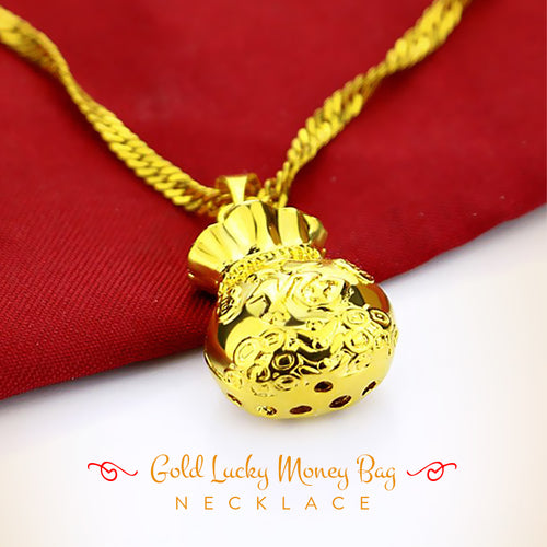Gold Lucky Money Bag Necklace