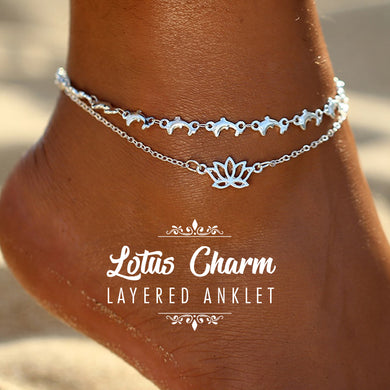 Lotus Charm Layered Anklet