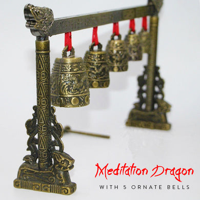 Meditation Dragon with 5 Ornate Bells