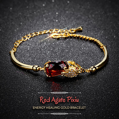 Red Agate Pixiu Energy Healing Gold Bracelet
