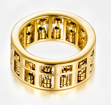 Load image into Gallery viewer, Abacus Feng Shui Wealth Gold Ring