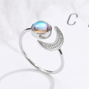 Natural Healing Sun And Moon Moonstone Ring