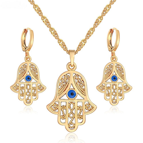 Elegant Hamsa Necklace and Earrings Set