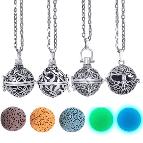 Anti-anxiety Lava Stone Aromatherapy Locket Necklace For Essential Oil