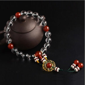 Bracelet - Fuchao Queen Qin Hao Natural White Crystal Chanting Beads Bracelet