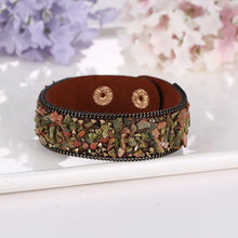 Load image into Gallery viewer, Bracelet - Natural Crystal Stone Cowhide Bracelet