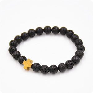 Bracelet - Natural Healing Stone With Cross Bracelet