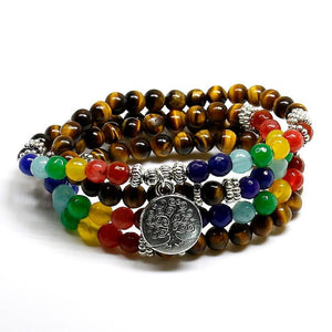 Bracelet - Tree Of Life 7 Chakra Tiger Eye Bracelet