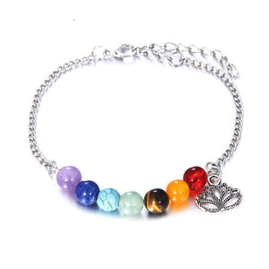 Bracelets - Adjustable Lotus Charm 7 Chakra Bracelet