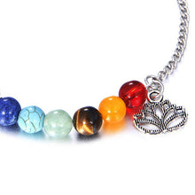 Load image into Gallery viewer, Bracelets - Adjustable Lotus Charm 7 Chakra Bracelet
