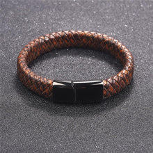 Load image into Gallery viewer, Bracelets - Blue Fire Stainless Steel Braided Leather Bracelet