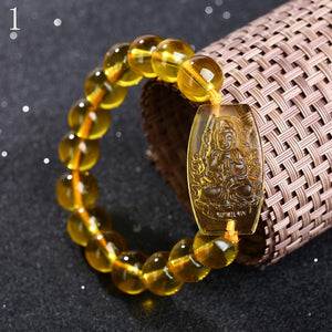 Bracelets - Limited Edition Citrine Guardian Buddha Pendant Bracelet (50% Off)