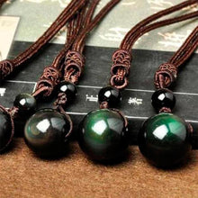 Load image into Gallery viewer, Bracelets - Natural Obsidian Rainbow Eye Necklace