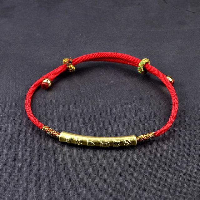 Bracelets - Six Words Engraved Mantra Red Rope Bracelet