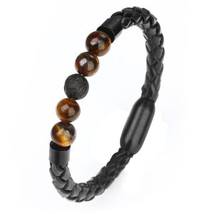 Bracelets - Tiger Eye Stone Stainless Leather Bracelets