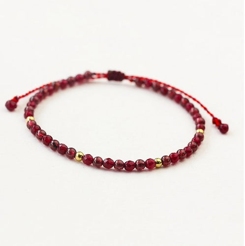 Bracelets - Weave Red String Garnet Bracelet For Career Success