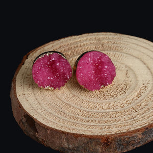 Earrings - Gold-dipped Raw Druzy Earrings