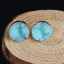 Load image into Gallery viewer, Earrings - Gold-dipped Raw Druzy Earrings