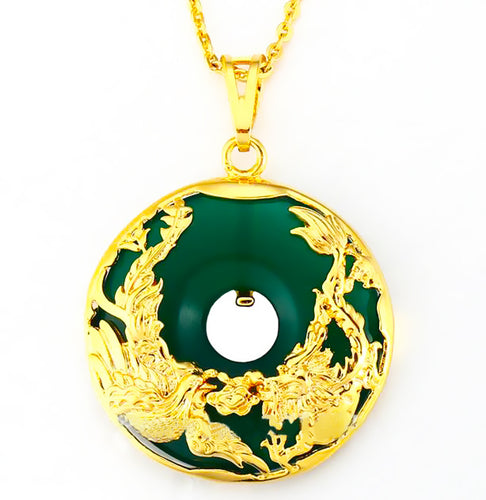 Natural Jade Gold Dragon Necklace