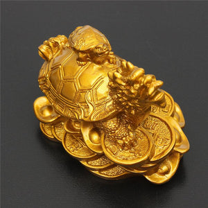 Home Decor - Feng Shui Dragon Turtle Tortoise Figurine Coin Wealth & Success Ornaments