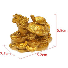 Load image into Gallery viewer, Home Decor - Feng Shui Dragon Turtle Tortoise Figurine Coin Wealth & Success Ornaments