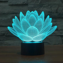 Load image into Gallery viewer, Lamp - 3D Effect Lotus Color Changing Touch Lamp