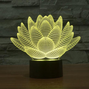 Lamp - 3D Effect Lotus Color Changing Touch Lamp