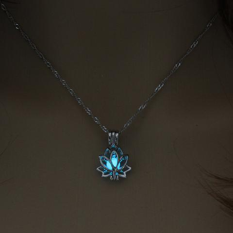 Necklace - Glow-in-the-dark Lotus Flower Pendant Necklace
