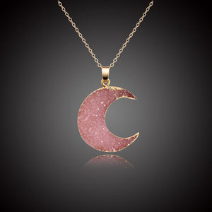 Necklace - Gold-dipped Healing Druzy Moon Necklace