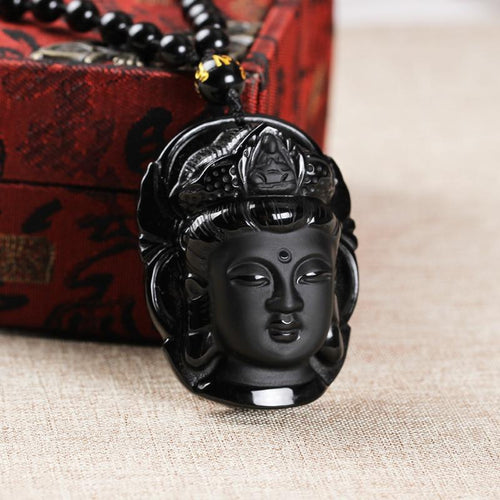 Necklace - Guanyin Buddha Natural Obsidian Lucky Necklace