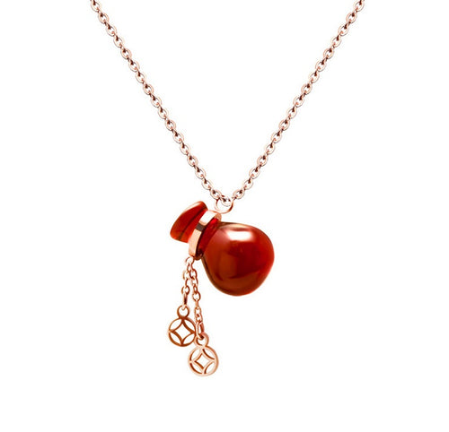 Necklace - Lucky Red Money Bag Fortune Necklace