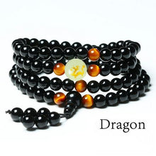 Load image into Gallery viewer, Necklace - Luminous Zodiac Black Buddha Beads Bracelet