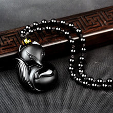 Load image into Gallery viewer, Necklace - Marriage Protection Black Obsidian Fox Necklace