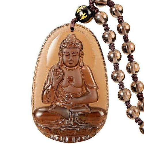 Necklace - Natural Ice Obsidian Vitality Buddha Necklace