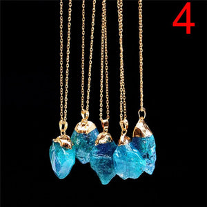 Necklace - Raw Gold Dipped Aqua Aura Necklace