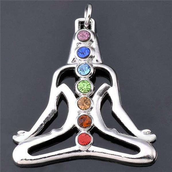 Necklace - Rhinestone Chakra Yoga Necklace