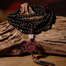 Load image into Gallery viewer, Necklace - Sandalwood Mala Necklace With Dharma Wheel Tassel