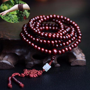 Necklace - Sandalwood Mala Necklace With Dharma Wheel Tassel