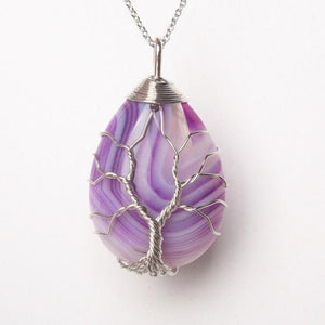 Necklace - Wired Crystal Drop Healing Pendant