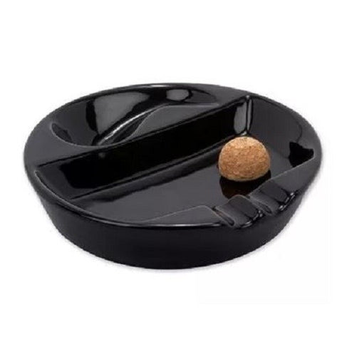 Ashtray: Old Road Tobacco Pipe Cigar Black Ceramic with Pipe Stand Cork Knocker
