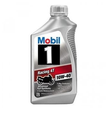Engine Oil: Mobil 1 Racing 4T 10W-40 Full Synthetic Motorcycle Oil - 1 qt(946ml)