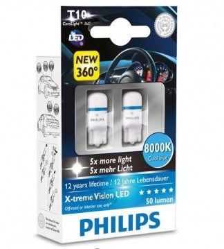Light Bulb: PHILIPS Xtreme Vision 360 LED W5W T10 8000K (Twin)