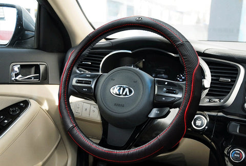 Steering Wheel Cover: KIA Leather cover (fit for size 37-38cm wheel)