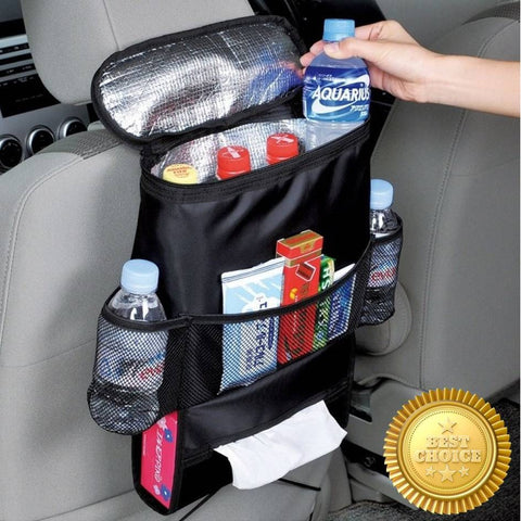 ★ Japanese Style – Multi Function Storage Bag with Cooler Bag & Tissue Holder ★  Car Seat Travel Organizer Pounch ★  with Cooler Bag to Keep your Food & Drink Chill/Warm ★ Road Trip Best Companion ★