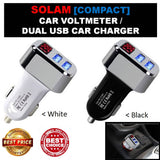 Car Charger: SOLAM-Latest Compact Multifunction SMART Car Battery Voltmeter with Auto Power Detection Car USB Charger