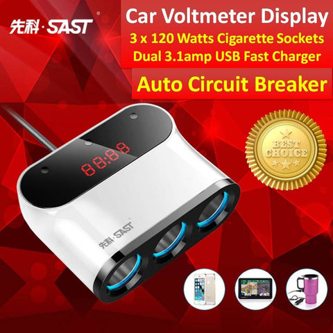 ★ Premium Digital Car Voltmeter with 1 Split to 3 x 120 Watts Cigarette Lighter Sockets And Dual 3.1amp USB Fast Car Charger ★Individual Switch for Each Cigarette Socket ★ Elegantly & Premium Design ★ Brand New [BNIB] ★