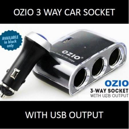 Car Charger: Ozio 3-way-socket with USB Output