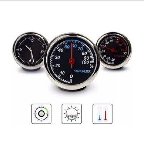 Generic car use clock/hygrometer/themometer